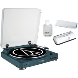 Wireless Belt-Drive Stereo Turntable w/ Record Vinyl Cleaner Kit, Navy