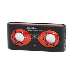 i308b iSpeaker Portable Stereo Speaker w/ Built-in Li-Ion Battery Black/Red
