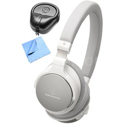 SR5 Wireless On-Ear Hi-Res Headphone w/ Slappa Case & Cleaning Cloth, White