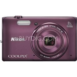 COOLPIX S5300 16MP 8x Opt Zoom Full HD 1080p Video Digital Camera - Plum