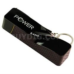 2600mAh Portable Keychain Power Bank - Black