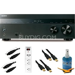 5.2 Channel 725 Watt 4K AV Receiver (Black) Plus Hook-Up Bundle - STR-DH550