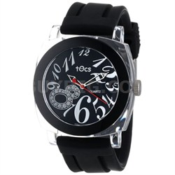 """Crystal 8"" Analog Round Watch (Black) - 40111"