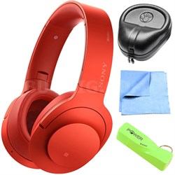 Wireless NC On-Ear Bluetooth Headphone w/ NFC  Cinnabar Red w/ Power Bank Bundle