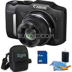 Powershot SX160 IS 16MP 16x Zoom Black Digital Camera 4GB Bundle