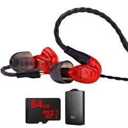 UM Pro 10 High Performance In-ear Headphone (Red) - 78550 w/ FiiO A3 Amp Bundle