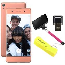 "Xperia XA 16GB 5"" Smartphone Unlocked Mobile Selfie Bundle - Rose Gold"