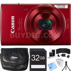 PowerShot ELPH 190 IS Red Digital Camera w/ 10x Optical Zoom 32GB Card Bundle