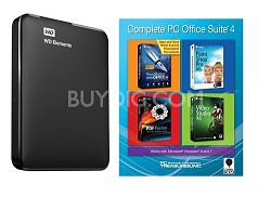 2 TB WD Elements Portable USB 3.0 Hard Drive Storage + Corel PC Office Suite 4
