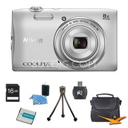 """COOLPIX S3600 20.1MP 2.7"""" LCD Digital Camera with 720p HD Video Silver Kit"""