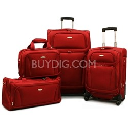 "Premium 4 Piece Lightweight Set (20"" & 28"" Spinners, Duffel & Boarding) {Red)"