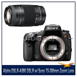 Alpha DSLR-A580 16.2 MP DSLR Camera Body w/ Sony 75-300mm f/4.5-5.6 Zoom Lens