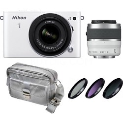 1 J3 14.2MP (White) Digital Camera with 10-30 and 30-110 VR Lenses - Deluxe Kit