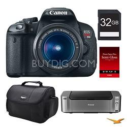 EOS T4i DSLR Camera 18-55mm Lens, 32GB, Printer Bundle