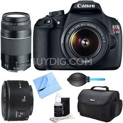 EOS Rebel T5 18MP DSLR Camera 18-55mm & 75-300 & 50mm F/1.8 Lens 7 pc Kit