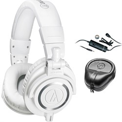Professional Studio Headphones White ATH-M50xWH with Microphone Bundle