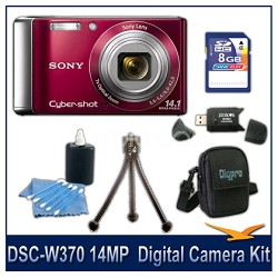 Cyber-shot DSC-W370 14MP Red Digital Camera   with 8GB Card, Case, and More