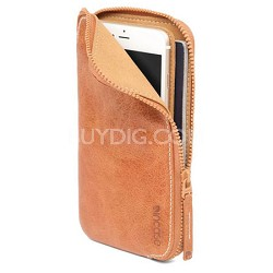 Leather Zip Wallet for iPhone 6 Plus - Tan
