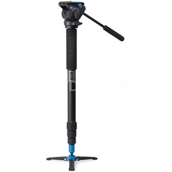 Video Monopod with Twist Lock Legs, S4 Head and 3 Leg Base (Black) - A48TBS4