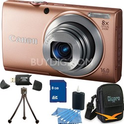 PowerShot A4000 IS 16MP Pink Digital Camera 16GB Bundle