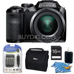 FinePix S6800 16 MP 30x Wide Angle Zoom Digital Camera Black 16GB Kit