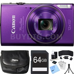 PowerShot ELPH 360 HS Purple Digital Camera w/ 12x Optical Zoom 64GB Card Bundle