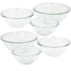 6001001-2PK - Prepware 6-Piece Mixing Bowl Set, Clear