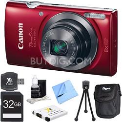 PowerShot ELPH 160 20MP 8x Opt Zoom HD Digital Camera - Red 32GB Bundle
