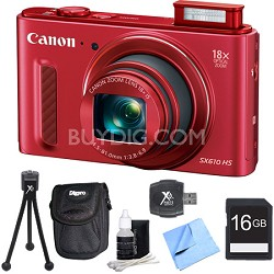 PowerShot SX610 HS 20.2 MP Digital Camera 18x Zoom 3-inch LCD - Red 16GB Bundle