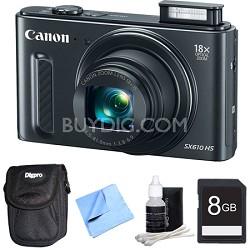 "PowerShot SX610 HS 20.2 MP 18x Zoom 3"" LCD Black Digital Camera Plus 8GB Bundle"