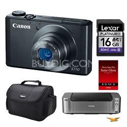 PowerShot S110 Black Digital Camera, 16GB Card/ Pro 100 Printer/Paper Kit