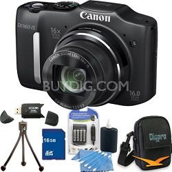 Powershot SX160 IS 16MP 16x Zoom Black Digital Camera 16GB Bundle