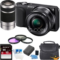 NEX-3NL Digital Camera  w 16-50, 55-210 Lens Essentials Bundle (Black)