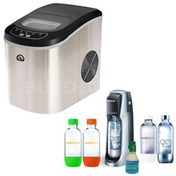 Compact Stainless Steel Ice Maker w/ Exclusive SodaStream Jet Soda Maker Bundle