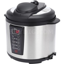 6-Quart Pressure Cooker in Black with Stainless Steel Inner Pot - MYWCS603