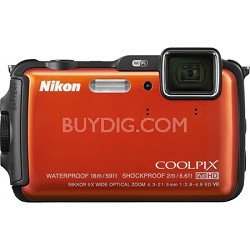 COOLPIX AW120 16MP 1080p Waterproof Shockproof Freezeproof Orange Digital Camera