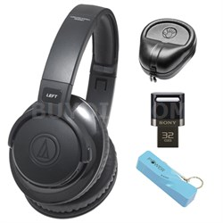 SonicFuel Bluetooth Wireless Over-Ear Headphones w/ Sony 32GB Flash Drive Bundle