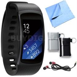 SM-R3600DANXAR Gear Fit2 Smartwatch with Small Band - Black Bundle