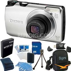 PowerShot A3300 IS 16MP Silver Digital Camera 16GB Bundle