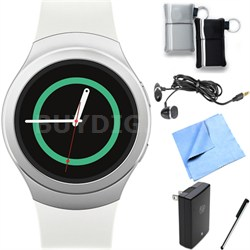 Gear S2 Smartwatch for Android Phones (Silver/White) Essentials Bundle