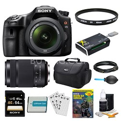 SLTA65VL DSLR 24.3MP 18-55mm Zoom SLR Black Camera 55-300mm 64GB Bundle
