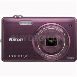 COOLPIX S5200 16 MP Built-In Wi-Fi Digital Camera - Plum - OPEN BOX