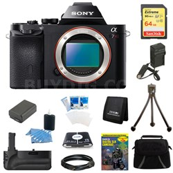 Alpha 7R a7R Digital Camera 64GB SDXC Card, Battery and Battery Grip Bundle
