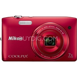 COOLPIX S3500 20.1MP Digital Camera w/ 720p HD Video (Red) Refurbished