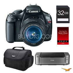 EOS T3 Black DSLR Camera 18-55mm Lens 32GB, Printer Bundle