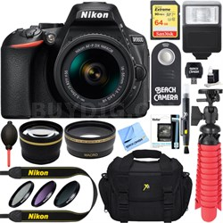 D5600 24.2MP DX-Format DSLR Camera w/ AF-P 18-55mm VR Lens Memory & Flash Bundle