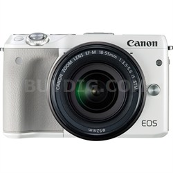 EOS M3 24.2MP White Mirrorless Camera with EF-M 18-55mm IS STM Lens