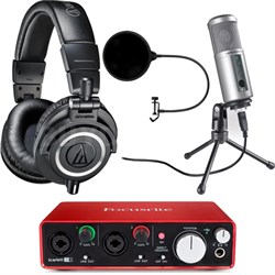 ATH-M50X Pro Studio Headphones (Black) w/ USB Audio Interface Deluxe Bundle