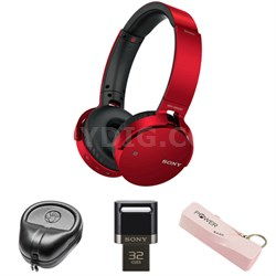 XB Series Wireless Bluetooth Headphones w/ Extra Bass-Red w/ Flash Drive Bundle