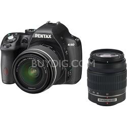 K-50 Digital SLR Camera Zoom Kit w/ DA L 18-55mm /50-200mm Lense(Blk) - OPEN BOX